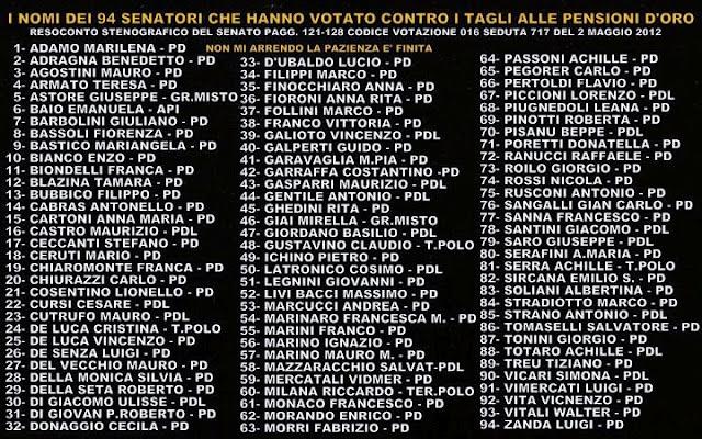 La bufala dei 94 senatori che hanno votato contro il for Elenco senatori
