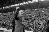 legendary Liverpool manager Bill Shankly celebrates the club's 1973 league title in front of an adoring Kop