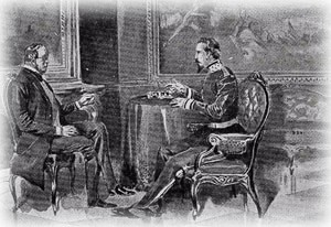Cavour e Napoleone III a colloquio a Plombières.