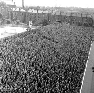 the old Clock End at Highbury in 1956