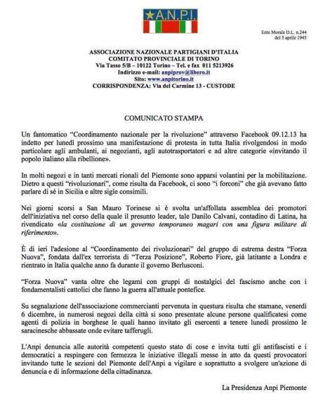 Il volantino dell'ANPI Torino che prende le distanze dalla manifestazione (clicca per ingrandire)