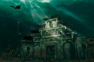 Città sommersa a Shicheng, Cina
